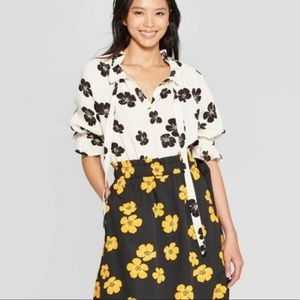 Who What Wear Floral Elbow Shirt